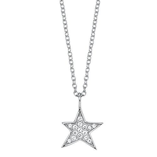 Engelsrufer Stern Kette mit Anhänger für Damen 925er-Sterlingsilber Weiße Zirkonia Länge 40 cm + 4 cm