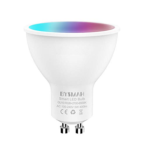 BYSMAH GU10 Smart Bulb, WiFi Spot Light Bulbs, 5W 400LM,Compatible with Alexa/Google Home, Dimmable White&RGBCW Color Changing, Sync to Music,No Hub Required(1 Pack)