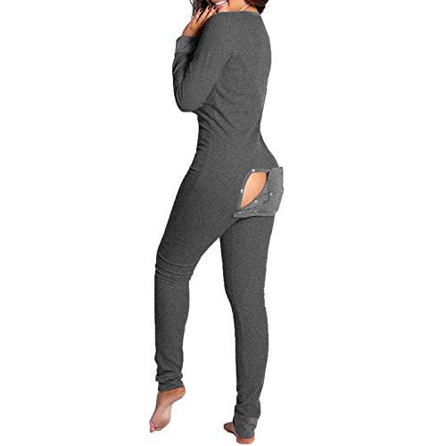 FantaisieZ Jumpsuit Damen Einteiler Pyjama Langarm Schlafanzug Mädchen Sexy V-Ausschnitt Functional Buttoned Flap Overall Strampler Nachtwäsche Schlank Trainingsanzug Hausanzug