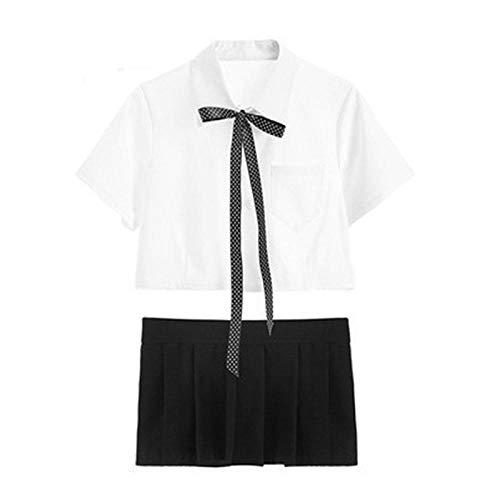 LINGCHANG Uniforme de Estudiante de la Escuela Disfraces Sexy Mujer Disfraz de Colegiala Sexy Anime Babydoll Colegiala Cosplay Traje de Maestro-White_L
