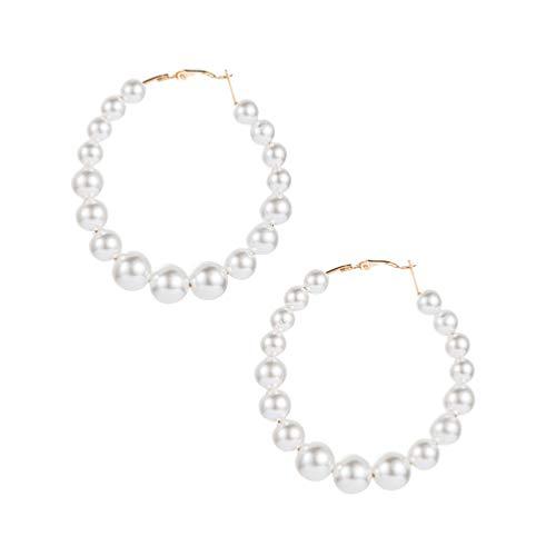 Holibanna Pendientes de Gancho de Perlas de Aleación de Moda Grandes Pendientes de Aro Abierto Gran Círculo Cuelgan Gotas de Oreja Joyería para Las Mujeres Y Las Niñas Encantos de