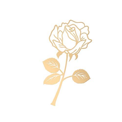 Mooie bladwijzer van metaal, bloemen, roze, schrijfwaren, kantoorbenodigdheden, knutselen, handwerk, vivianu, bladwijzers voor school en verliefden. Goud