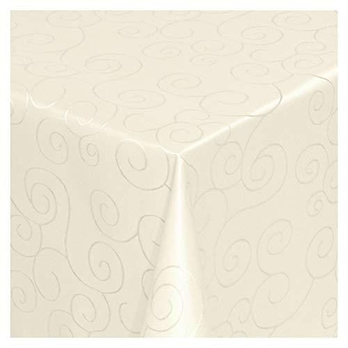 MODERNO Tischdecke Stoff Damast Ornamente Jacquard Ranken Design mit Saum eckig 130x220 cm Creme - Sonderposten
