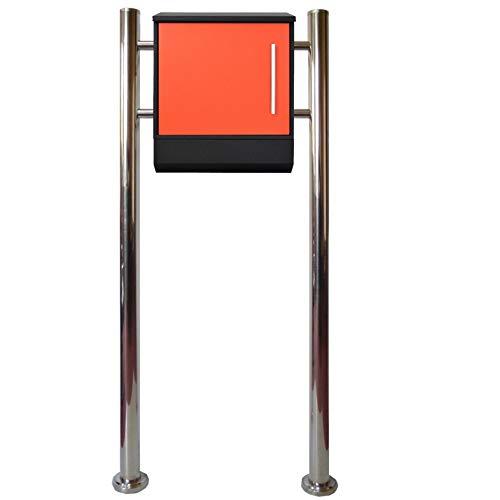 郵便ポストスタンド メールボックス スタンド型鍵付マグネット付オレンジ色ポストpm375s