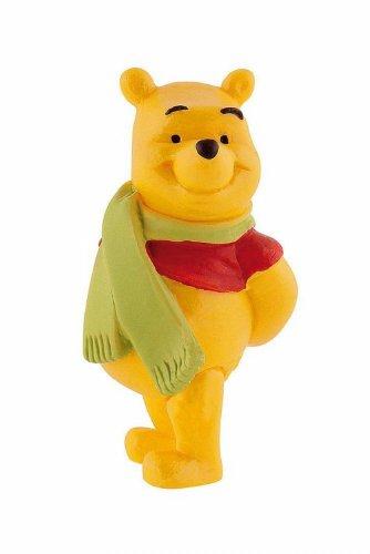 Bullyland 12327 - Spielfigur, Walt Disney Winnie Puuh mit Schal, ca. 6,1 cm groß, liebevoll handbemalte Figur, PVC-frei, tolles Geschenk für Jungen und Mädchen zum fantasievollen Spielen