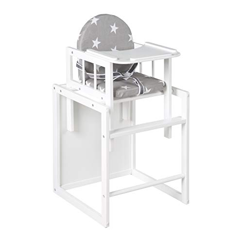Trona Combi roba, trona con bandeja transformable en silla y mesa independientes, trona infantil de madera lacada en blanco, asiento tapizado en diseño 'Little Stars'