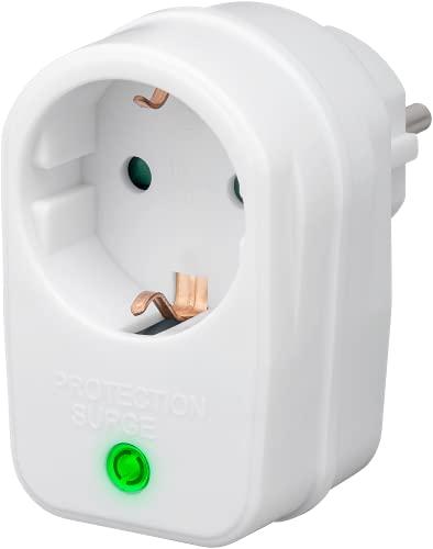 Goobay 51270 Netz-und Überspannungsschutz, Steckdosenadapter, Schutzkontaktsteckdose, weiß, 230 V, max. 3500 W