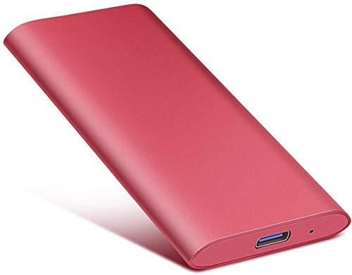 Disco duro externo portátil – Disco duro portátil ultrafino, disco duro externo de 2 TB compatible con Mac, ordenador portátil, PC (2TB, Red)