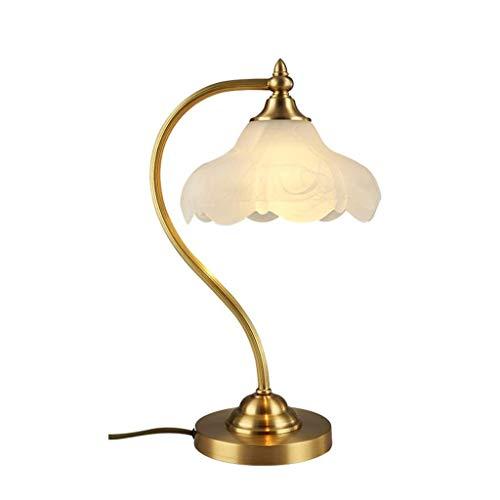GAODINGD Lámparas de Mesa Decorativa Industria Todo-Cobre Lámpara Europea Tabla Dormitorio Mesita de luz de la lámpara de la Manera Creativa Sala de Estar Estudio de iluminación de la lámpara
