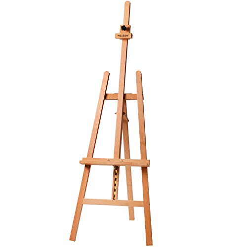 MEEDEN - Caballete lira básico de estudio de madera para pintar, altura y ángulos de trabajo ajustables, sostiene lienzos de hasta 109 cm