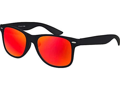 Hochwertige UV400 CAT 3 CE Nerd Sonnenbrille matte Rubber Retro Vintage Unisex Brille mit Federscharnier für Herren und Damen - 100 verschiedene Farben/Modelle wählbar (Schwarz - Rot/Orange verspiegelt)