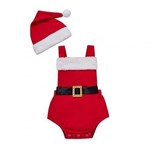 Sheey Conjunto de Mono y Gorro de Bebé Navidad Navideño sin Mangas para Niño Niña Unisexo Recién Nacido Pequeños Otoño Invierno Fiesta Inicio
