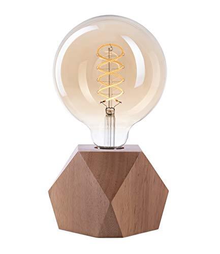 CROWN LED Tischlampe Vintage Batteriebetrieben - Design Tischleuchte aus Holz E27 Fassung inkl. Retro Edison LED Glühbirne EL20