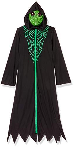 amscan- Hooded Robe Costume with Green Mask-Age 14-16 Years-1 PC Traje de Alien con Capucha con máscara Verde para niños de 14 a 16 años - 1 Unidad, Color Negro, Talla única (9905044)