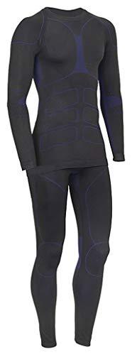 icefeld®: Sport-/ Ski-Thermo-Unterwäsche-Set für Herren Seamless (nahtfrei) in schwarz/blau XL