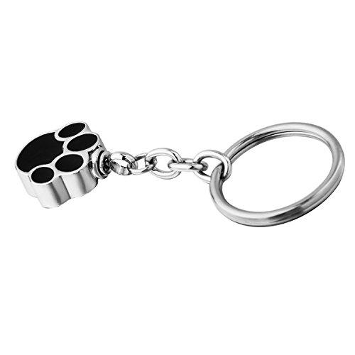 HooAMI 1pc de plata inoxidable Pet urna perro Huella colgante Charm cenizas Jump llavero 6,5cm