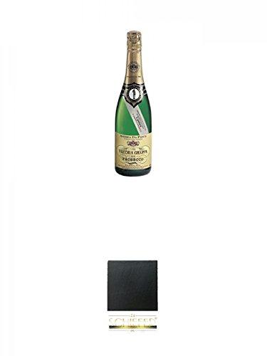 Andrea da Ponte Vecchia Grappa di Prosecco Italien 0,7 Liter + Schiefer Glasuntersetzer eckig ca. 9,5 cm Durchmesser