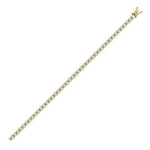 Jewelco London in oro giallo 18kt, con 4gancetti da rotonda g SI16ct Diamond Line bracciale tennis 3mm