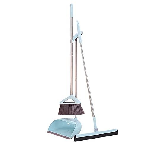 SHTFFW DUMERADORES DE HOGAR, Juego de escobas de Tres Piezas de Tres Piezas, Set de Combo de Limpieza de la Escoba de Limpieza (Color: Azul)