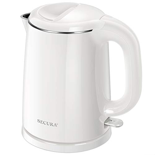 Secura Stainless Steel Double Wall Electric Kettle Water Heater for Tea Coffee w/Auto Shut-Off and Boil-Dry Protection, 1.0L (White) (SWK-1001DW)