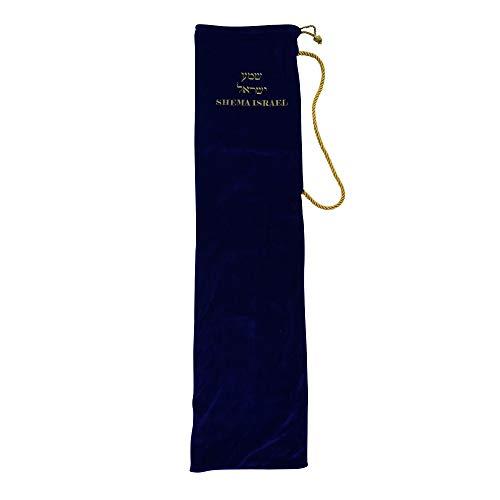 Shema Island, Stretch-Samt, Yemenit-Tasche, für Geschenk, Hebräisch bestickt, Jumbo, für bis zu 91,4 cm Horn königsblau