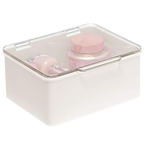 mDesign Kosmetik Organizer für das Waschbecken oder Badregal – Aufbewahrungsbox mit Deckel für Make up, Nagellack usw. – stapelbare Schminkaufbewahrung aus Kunststoff – cremefarben und durchsichtig