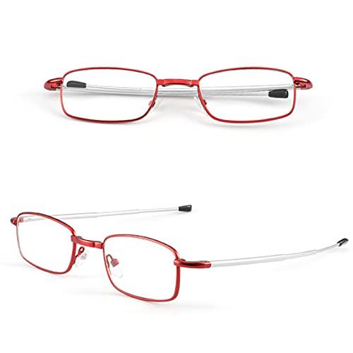 Gafas de Lectura Plegables Gafas Plegables Ligeras Gafas de Presbicia Antirrayas Azules Plegables de Metal para Hombres Mujeres Alivio Disponible Fatiga Visual
