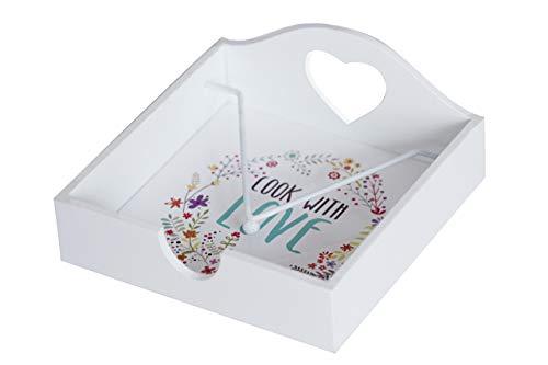 Servilletero de mesa de Madera Blanco con barra de peso para sujetar las servilletas de papel. Porta servilletas original, natural y resistente de 18x18x8 cm
