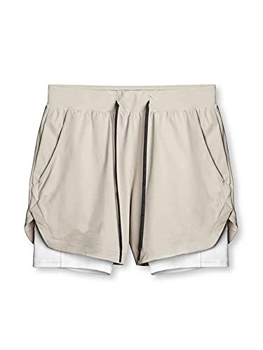 DELIMALI Pantalones cortos para hombre, transpirables de doble capa con cordón de color en contraste y cintura media