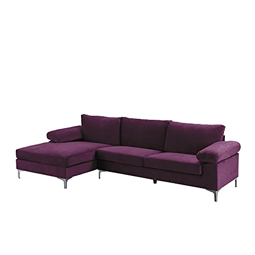 Casa Andrea Milano llc Modern Large Velvet Fabric Sectional Sofa, L-Shape Couch with Extra Wide Chaise Lounge, Purple