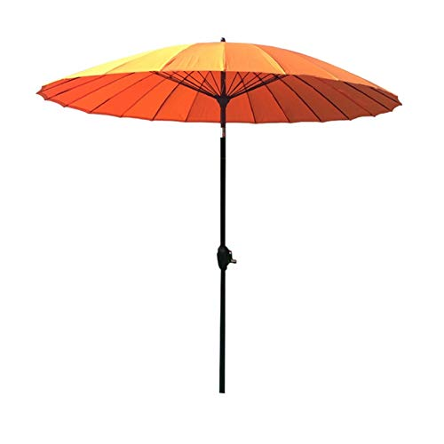 HYDT Sombrillas Paraguas Protector Solar Naranja UV50 +, Sombrilla para Exteriores de 2,7 M / 9 Pies con Función de Manivela e Inclinación, para Poolside Market Cafe Shop Beach