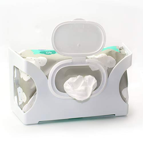 Gadjit Wet Wipes, Hand Wipes & Baby Wipes Wall Dispenser | Mounts on a Wall and Holds Up to an 84 Count Pack of Wipes | Keeps Wipes Always Within Easy Reach of Messes | One-Handed Wipes Dispensing