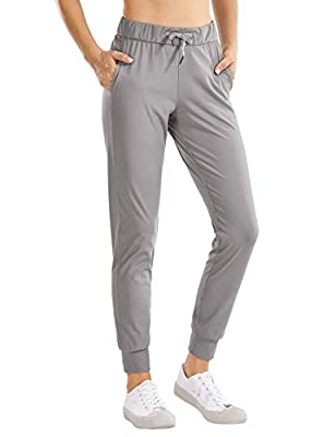 CRZ YOGA Women's Stretch Drawstring Jogger Fitted Cuffed Sweatpants with Pockets Casual Travel Lounge Pants Dark Chrome Small