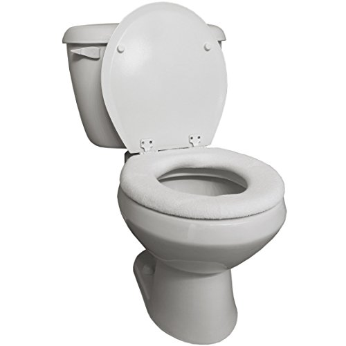 Home-X - Snug and Warm Toilet Seat Cover, Washable and Reusable Cover for Men and Women of All Ages, White (Single)