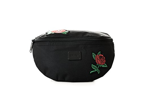 Spiral Rose Patches Bum Bag Sac Banane Sport, 24 cm, 3 liters, Noir (Black)
