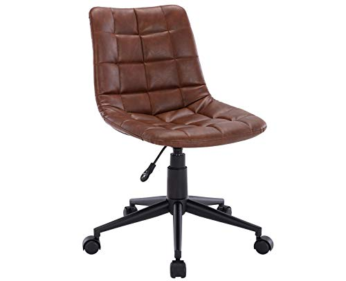 CIMoo Armless Desk Chair Ergonomic Faux Leather Task Chair Home office Modern Computer Swivel Adjustable Rolling Chairs for office Study Room,Brown