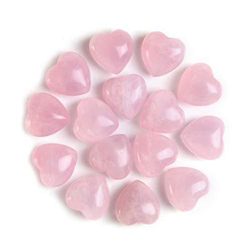 MANIFO 15 Stück natürlicher Rosenquarz Kristall Herz Stein Heilstein Edelstein Mini Puffy Herz Taschenstein