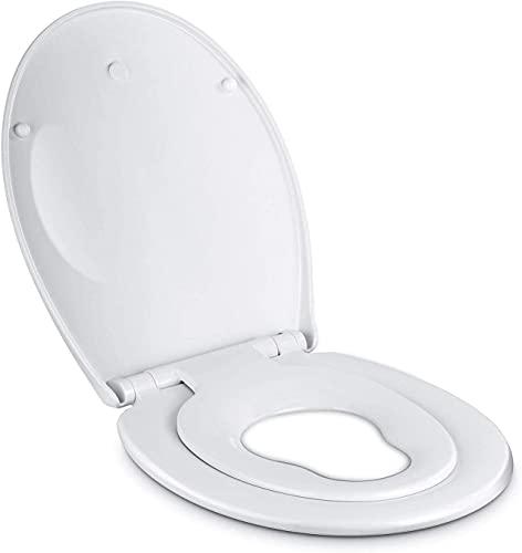 Amzdeal Toilettendeckel Kinder und Erwachsene mit integriertem Kindersitz, 2 in 1 Familien Toilettensitz, Soft-Close Absenkautomatik Funktion, abnehmbarer Familien WC Sitz, O Form PP/Weiß