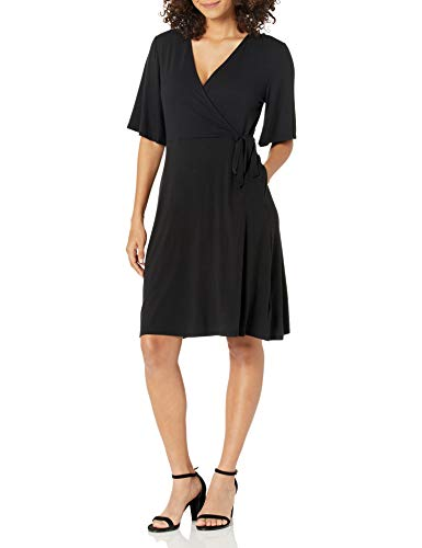Amazon Essentials Women's Kimono Sleeve Faux Wrap Dress, Black, Large