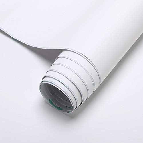 KINLO Möbelfolie selbstklebend Tapeten weiß 40 x 300 cm Uni Küchenschrankfolie PVC Wandaufkleber Wasserfest und Kratzfest Aufkleber für Wand/Möbel/Küche