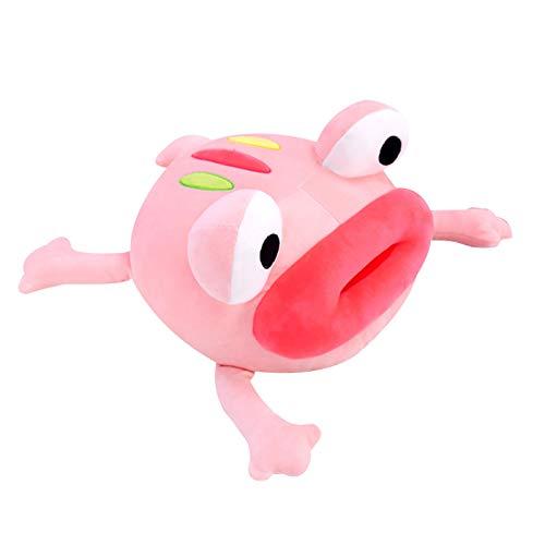 Peluche de rana de peluche de peluche de peluche de peluche súper suave muñeca elástica rana juguete de peluche ojos grandes labios rojos almohada de felpa