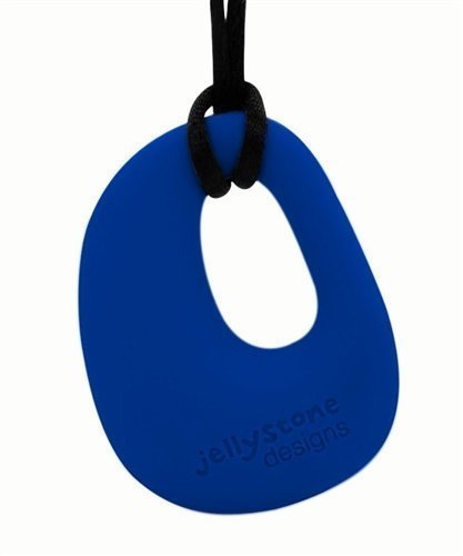 Organic Pendant - Silicone Necklace (Teething/Nursing) (Blueberry) by Jellystone Designs (English Manual)