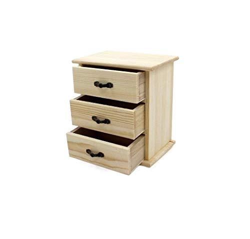 takestop® Cajonera portaobjetos con 3 cajones de madera para decoupage, 16 x 17,5 cm, escritorio, papelería, casa, oficina ✅