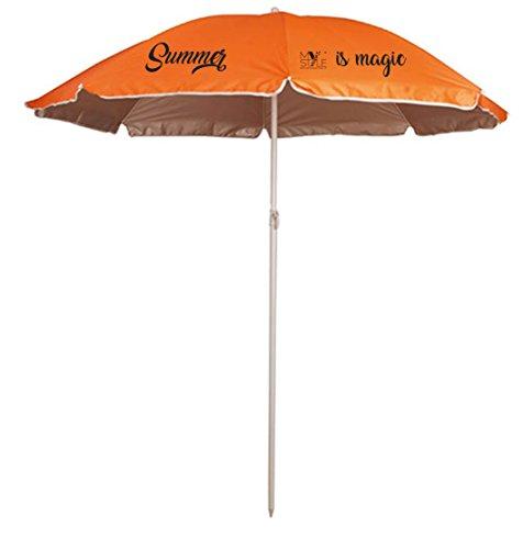 My Custom Style® Parasol de plage portable couleur orange, en polyester ave