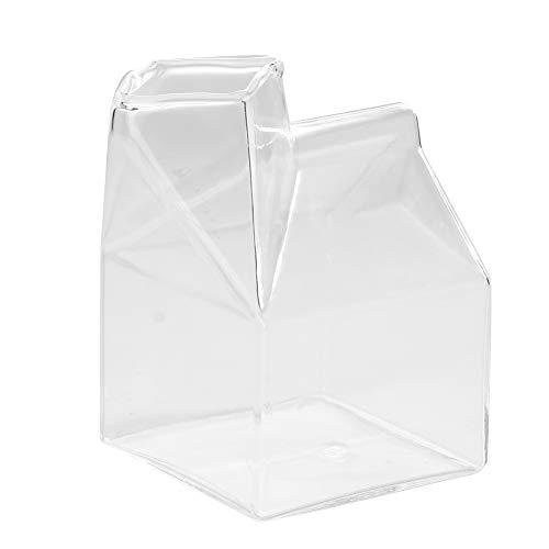 Cartone di vetro per il latte, forma di casa carina Contenitore di cartone trasparente per tazza di caffè in vetro per acqua e latte Tazza Circa 250 ml)
