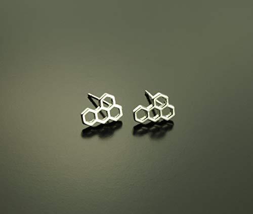 Ohrstecker Bienen Wabe Hexagon Sechseck geometrisch silbern Ohrringe Stecker