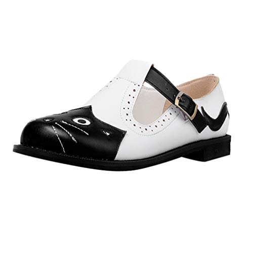 Damen Flache Schuhe Plus Size Kleine Lederschuhe Farbe Matching Round Head Schnalle Shallow Mund Schuhe Cartoon Süße Katze Freizeitschuhe, Schwarz, 39.5 EU