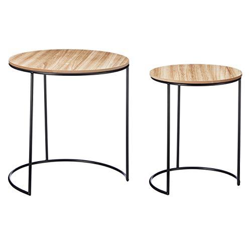 Meinposten. 2 salontafels bijzettafelset bijzettafel nachtkastje salontafel hout metaal