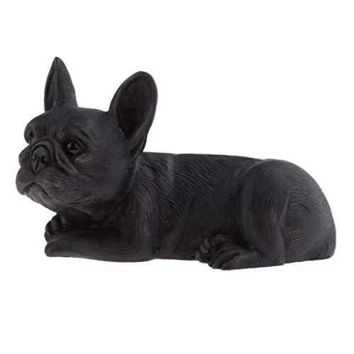 joyMerit Lifelike Resin French Bulldog Figurine Animal Model Home Decor Collectibles - Black Lying Down