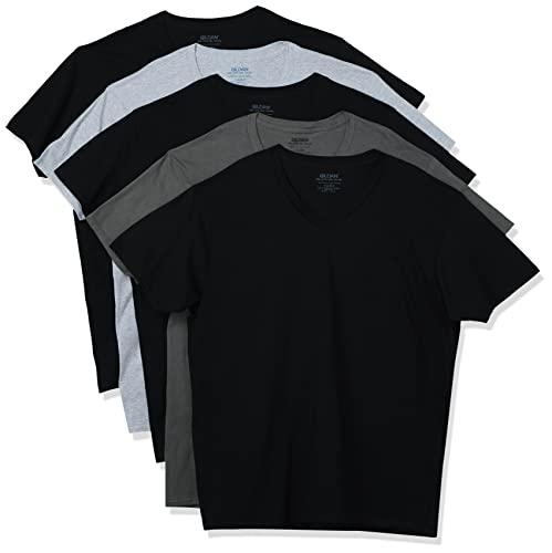 Gildan Men's V-Neck T-Shirts, Multipack, Assorted (5-Pack), X-Large